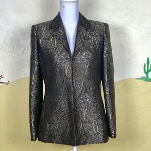KASPER Size 8P Floral Paisley Blazer Fully Lined